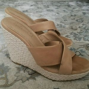 Splendid leather upper wedge sandals
